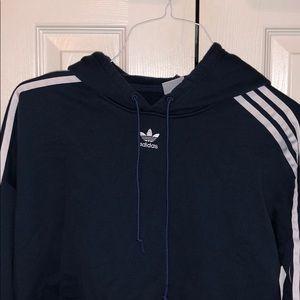 Cropped blue adidas hoodie